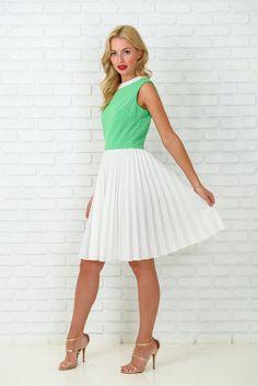 Vintage 60s 70s Green  White Mod Dress Polka Dot by thekissingtree