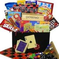 Video game gift basket for someone who is a gamer.