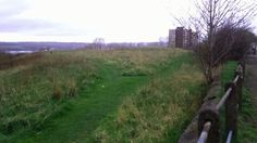 Moor with overgrown grass burying football goal posts, Near The Angel of the North, Gateshead