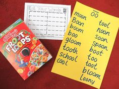 """First Grade Wow:  Learning """"oo"""" words with fruit loops"""