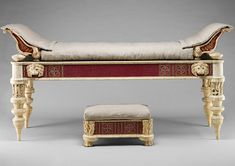 greek & roman furniture.  High lounge settees with footstools.