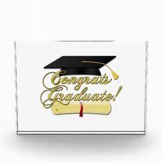 Graduation gift Congrats Graduate Diploma and Graduation hat Acrylic Block Award by PLdesign $36.95