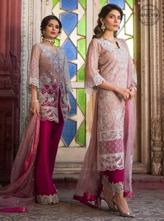 Net off white pant style pakistani salwar suit online shopping. Off white color pakistani suit is fancy design embroidery work. Off white color pakistani dress is net fabric with magenta color sanoon fabric and pink color net fabric dupatta. New Pakistani Dresses, Pakistani Dress Design, Pakistani Designers, Indian Dresses, Fashion Pants, Fashion Dresses, Couture Dresses, Bridal Dresses, Designer Wear