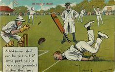 """The rules of cricket"" batsman shall not be put out...   Post Card ..Posted Moose Jaw, Sask, on Aug 21, 1909."