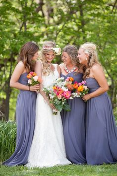 View the photo gallery of a Colorful & Vintage-Inspired Wedding at Historic Taylor Barn. Photography by Jana Marie Photography. Periwinkle Bridesmaid Dresses, Periwinkle Wedding, Wedding Bridesmaid Dresses, Brides And Bridesmaids, Barn Wedding Dress, Barn Wedding Photos, Periwinkle Blue, Purple, Wedding Pictures
