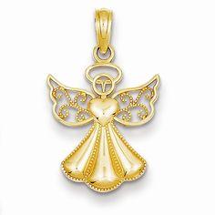 14k Yellow Gold Guardian Angel Heart Pendant
