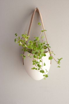 Porcelain and tan leather hanging planter.