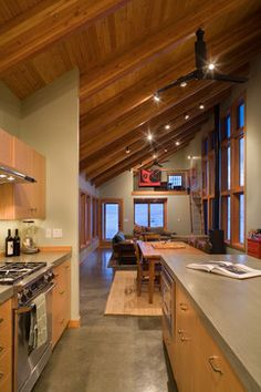 Granite Mountain Cabin contemporary kitchen  The kitchen is too small, but the loft is cool at the end