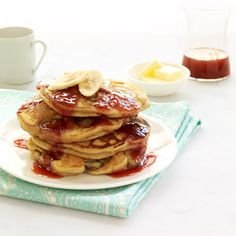 PB and J Banana Pancakes via Delish