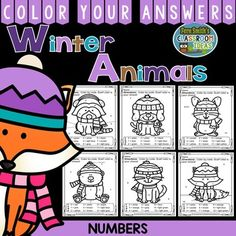 Winter Animals Numbers - Color Your Answers Printables for Winter Numbers, perfect for winter time in your classroom. #TPT $paid #FernSmithsClassroomIdeas