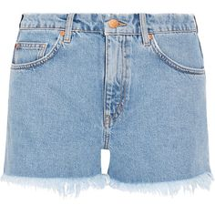 M.i.h Jeans Halsy cut-off denim shorts (298 AUD) ❤ liked on Polyvore featuring shorts, bottoms, mih jeans, pants, blue, cut off jean shorts, denim cutoff shorts, denim short shorts, mid rise denim shorts and cut-off shorts