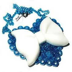 SALE: Sparkle Heart Necklace - Blue