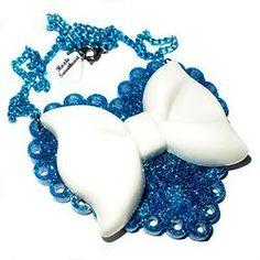 SALE: Sparkle Heart Necklace - Blue