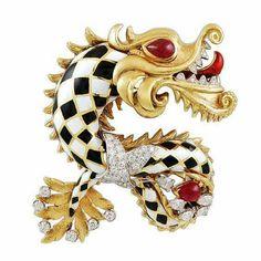 David Webb Diamond Enamel Chinese Dragon Pin