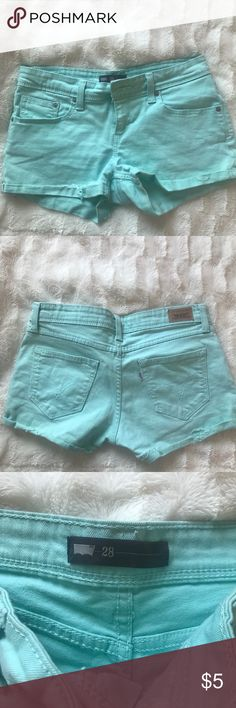 Levis Mint Green Jean Shorts Size 28 (6) Barely worn jean shorts from Levi's outlet. Size 28/6 Levi's Shorts Jean Shorts