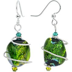 Green Dichroic Glass Dangle Earrings MADE WITH SWAROVSKI ELEMENTS #bodycandy