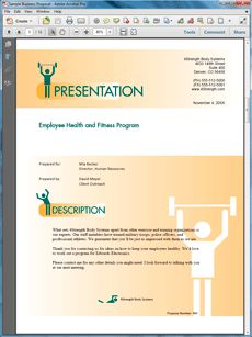 Health and Fitness Program Sample Proposal - Create your own custom proposal using the full version of this completed sample as a guide with any Proposal Pack. Hundreds of visual designs to pick from or brand with your own logo and colors. Available only from ProposalKit.com (come over, see this sample and Like our Facebook page to get a 20% discount)