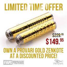 Limited time offer. Get you a ProVari Gold for only $149.95. #VapeProVari  ProVari Gold ZenKote™: bit.ly/ProvariGold ProVari Gold ZenKote™ Mini: bit.ly/ProVariGoldMini  The safest Personal #Vaporizer now at more affordable price. #Vape #Vaping #VapeNation #VapeWorld
