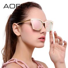 2d1fa4a5261 AOFLY Fashion Sunglasses Women Half Frame 2017 Luxury Brand Designer Sun  glasses Vintage Goggle Eyewears UV400 Protection AF7905. Cat eye ...