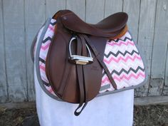 English AllPurpose Saddle Pad  Pink Grey and by ChestnutMareCrafts, $64.95