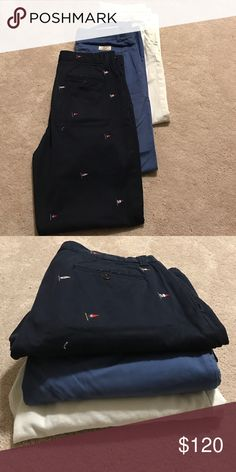 Polo by Ralph Lauren classic chino bundle Gently used Polo by Ralph Lauren chino pants. White is size 34R; royal blue is size 32/32; navy w/ flags is size 33/32 Polo by Ralph Lauren Pants Chinos & Khakis