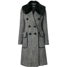 Dolce & Gabbana double breasted coat (¥605,735) found on Polyvore featuring women's fashion, outerwear, coats, black, long sleeve coat, faux fur collar coat, faux fur coat, fur coat and dolce gabbana coat