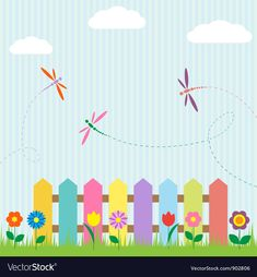 Colorful fence with flowers and dragonflies Vector Image , Birthday Graph, Simple Wall Paintings, Animal Pictures For Kids, String Art Templates, Scrappy Quilt Patterns, English Worksheets For Kids, Summer Camps For Kids, Zeina, Creative Curriculum
