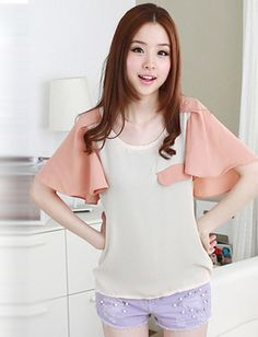 Babydoll Style Pure Colour Flare Sleeves Mock Pocket Top For Women, Shop online for $11.00 Cheap Basic Tops code 693318 - Eastclothes.com