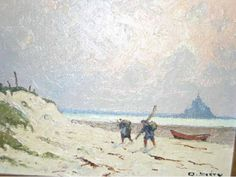 Olivier Sery - Return of fishing. Fish Monger, Le Mont St Michel, Saints, Fishing, History, Drawings, Painting, Art, Olive Tree