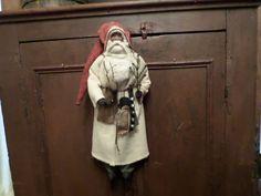 Primitive Old Style White Wool Santa Claus~tree~Reindeer~Snowman~Bells~Tree | eBay