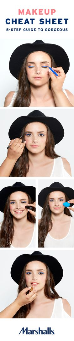 Makeup cheat sheet! Gorgeous makeup in 5 easy steps. Create a cobalt cat eye that's sure to turn heads. Use a brow pencil to fill and shape your brows. Bring a little color to your cheekbones with a blush stick and beauty blender. Then add some pink to your pout with simply chic gloss. Visit Marshalls today to build your new beauty routine!