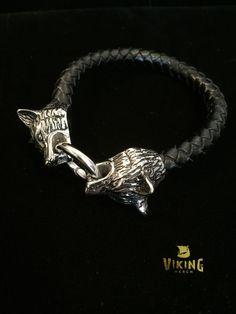 Braided Leather Wolf Bracelet