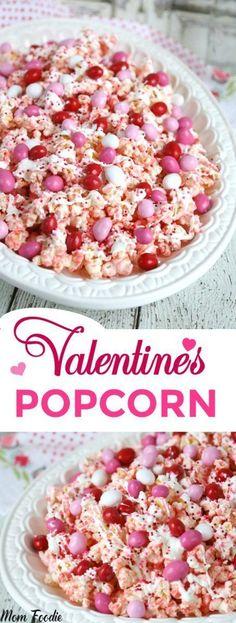 Valentines Day Popcorn Recipe: Pink Chocolate Covered Popcorn – Recipes And Desserts Valentine Desserts, Valentines Day Food, Valentine Treats, Valentines Recipes, Valentine Party, Valentines Baking, Pink Desserts, Saint Valentine, Valentine Sday