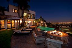 LA Mansion by the fire.