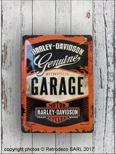 Plaque métal Harley Davidson Garage MM, déco garage Harley Davidson, Nostalgic Art, Metal Plaque, Motorcycle Garage, Decoration, Passion, Home Decoration, Decor, Decorations
