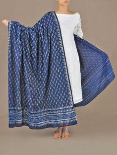 Indigo-Dyed Mughal-Buti Cotton Dupatta