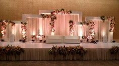 Wedding Reception Stage Decorations Draping Ideas For 2019 Reception Stage Decor, Wedding Backdrop Design, Wedding Stage Design, Wedding Hall Decorations, Wedding Reception Backdrop, Marriage Decoration, Engagement Decorations, Wedding Mandap, Wedding Centerpieces