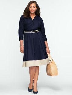 Blocked-Hem Shirtdress - - Talbots Plus-Size 2014