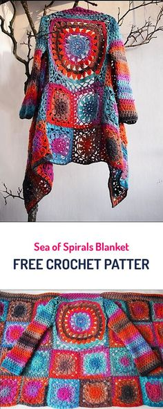 Flower Cardigan Cape Free Crochet Pattern #crochet #crafts #yarn #style #fashion