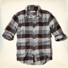 Soft Flannel Shirt with classic pattern, left chest pocket, heritage logo patch, Vintage Hollister Wash, Muscle Fit, Imported<br><br>100% soft sueded cotton