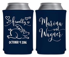 """Wedding Can Coolers Beverage Insulators Koozies Personalized Wedding Favors - Finally 