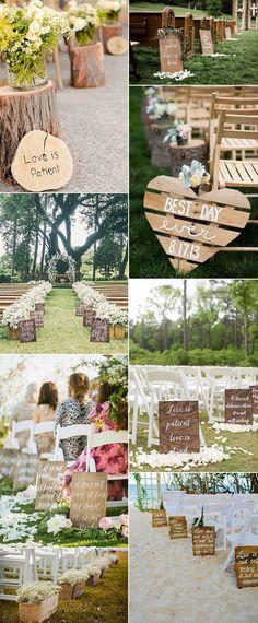 ideas de decoración al aire libre pasillo de la boda con la madera para las tendencias 2017