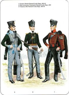 PRUSSIA - Prussian Cavalry of the Napoleonic Wars (2) 1807-1815 1-Trooper, Silesian National Cavalry Regt 1813-15 2-Elite cavalryman, Pommeranian National Cavalry Regt 1813 3-Volunteer, Elbe National Cavalry Regt 1813-15