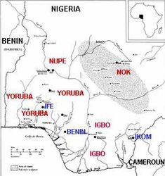 Map of Nigeria, the Jos Plateau is the region of the Nok civilization