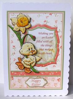 HAPPY EASTER CHICK DAFFODIL Topper Decoupage on Craftsuprint designed by Janet Briggs - made by Margaret McCartney