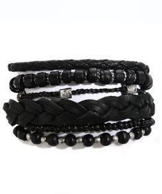 Mens Leather Bracelet Set Black
