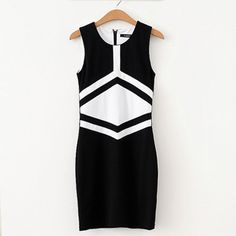 Fashion Contrast Color Sleeveless Round Neck Slim Fit Dress