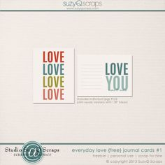 Free Love Cards for project life | [ One Velvet Morning ]