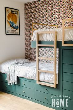 Romantic Home Decor DIY Built in Bunk Beds with TONS of storage. Twelve deep drawers eliminate the need for dressers!Romantic Home Decor DIY Built in Bunk Beds with TONS of storage. Twelve deep drawers eliminate the need for dressers! Bunk Beds Built In, Bunk Beds With Storage, Cool Bunk Beds, Bed Storage, Storage Area, Hidden Storage, Built In Beds For Kids, Corner Bunk Beds, Bunk Bed With Desk