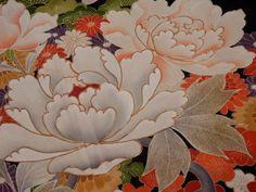 Japanese Vintage KIMONO, SILK, Black, TOMESODE, Gorgeous!! Flower Y091003